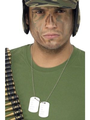 Army Dogtags On A Chain - Rambo Military Dog Tags Fancy Dress Accessory - - Rambo Halloween Costumes