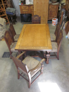ANCIEN MOBILIER CHENE MASSIF TABLE 6 CHAISES PROPRE & SOLID