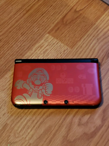 Red Mario 3DS XL with charger and 6 games