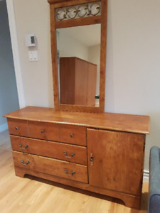 Dresser with mirror and headboard