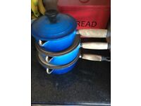Set of 3 Le Creuset saucepans and lids. Blue