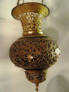 antique MOROCCAN HANGING LANTERN pierced filigree brass PERSIAN Kitchener / Waterloo Kitchener Area image 6