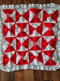 New Red and white pram blanket