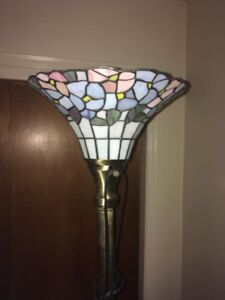 Tiffany Glass Corner light with matching table light