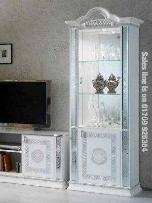 Versace Design Italian White/Silver 1 Door Vetrine/Display Cabinet