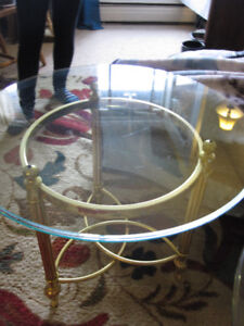2 Glass Top brass end tables