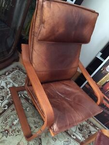 Ikea poang chair and ottoman (medium brown-leather)
