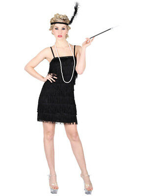 Ladies Black Gatsby Showtime Flapper Girl 1920s Charleston Fancy Dress Costume  ()