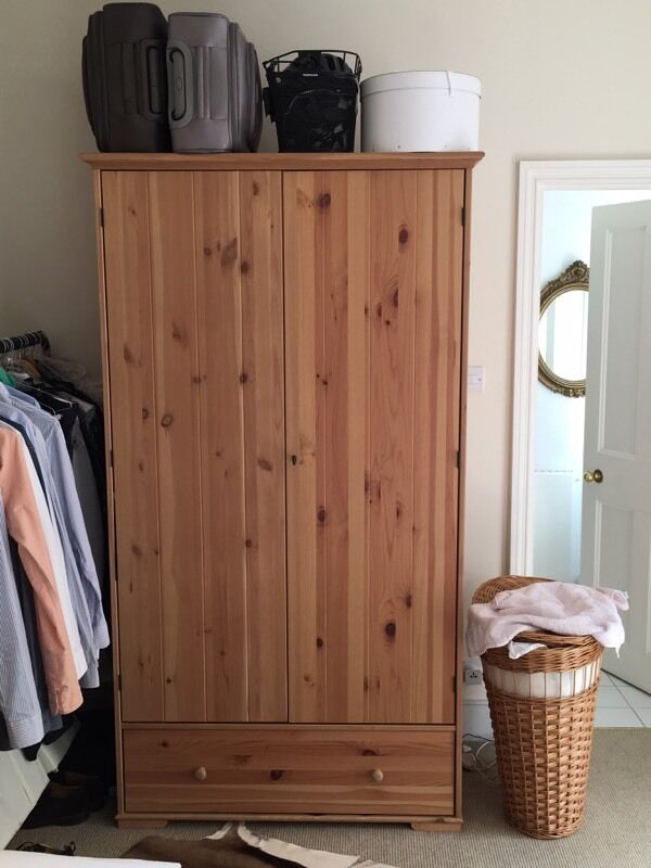 hurdal ikea solid pine wardrobe as new in highbury london gumtree. Black Bedroom Furniture Sets. Home Design Ideas