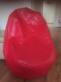 Bean bag chair (Red Leather)..in good condition.