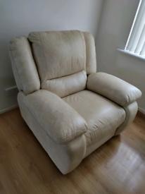 Single reclining leather armchair