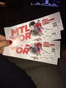 Paire billets Montreal-Toronto 6octobre centre Bell(rouges)