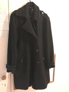 H&M Men's Long Pea Coat -  Black size 42R (L-XL)