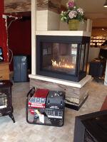 foyer encastré ou poêle au gaz combo avec génératrice