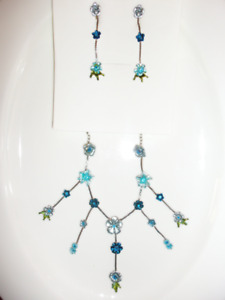 Blue and Green Floral Necklace and Earing Costume Jewellery Set