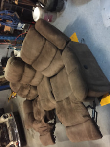 Brown Suede Electrical Recling Couch