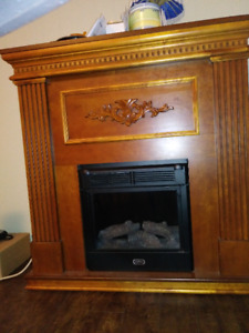 Wooden cherry colored electric fireplace