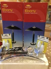 Pair of Table/Bedside Lamps, boxed, as new, with candle bulbs