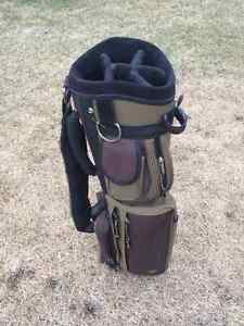 Golf bags, irons, and woods