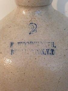 Antique stoneware whiskey wine jug crock. Woodworth Vermont