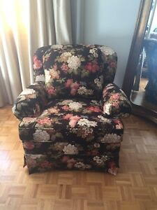Floral printed chair and ottoman