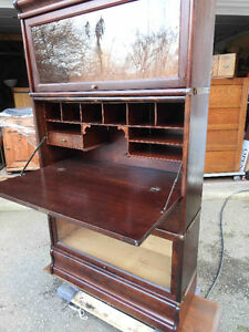 antique mahogany barrister bookcase with secretary desk built in