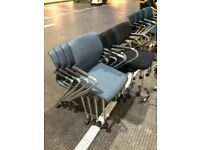 Vitra Blue Meeting Chair On Wheels