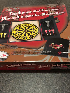Dart board Cabinet Set Never Opened