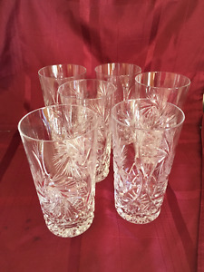 Set of eight pinwheel crystal water glasses