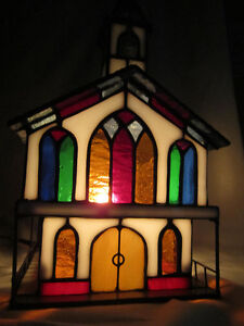 Colorful - Stained Glass Church - Electric Accent Light/Ornament