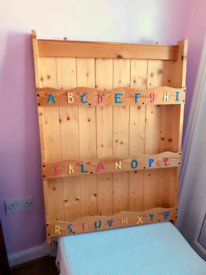 Solid Wood Alphabet Decorated Childs Wall Bookcase