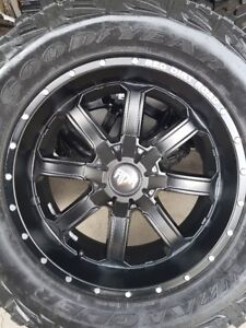 4 NEW RDR BLACK WHEELS WITH NEW GOODYEAR MT/R LT35/12.5/20
