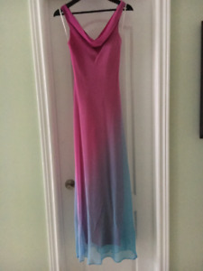 Long Flowy Pink and Turqoise Blue Dress