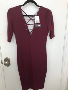 Front Crisscross Burgundy Dress Never worn