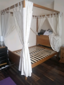 A Pine Wood Four Post Double Bed