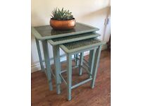 Cute tile topped painted green morroccan inspired nest of vintage tables