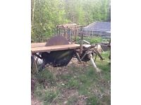 Saw bench,tractor mounted.