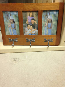 Picture Frame with Coat hooks, solid oak frame