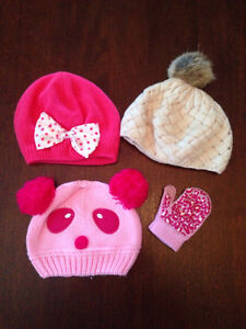 GIRLS 12-18 Months Winter Hats & Mitts Lot - $8.00!!!