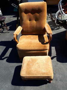 2 Antique COGS Arm Chairs and Foot Stool