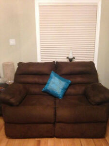 Suede Couch set with free tables and portrait London Ontario image 2