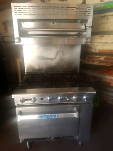 Imperial 6 burner commercial stove with salamander