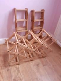 Three Wooden Folding Wine Racks