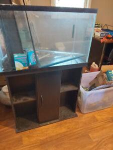 30 gallon fish tank, stand, decor and supplies