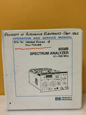 Hp 8558b Spectrum Analyzer 0.1-1500 Mhz Operation And Service Manual