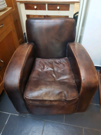 Chunky vintage Leather armchair / Chocolate brown / Lovely chair