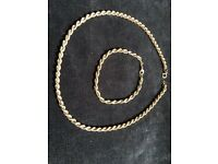 Necklace + bracelet 9 ct gold rope chain