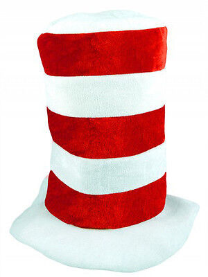 Adult Striped Red & White Hat Fancy Dress World Book Day Character Dr Suess New - Dr Suess Costume