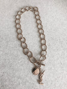 YSL Yves Saint-Laurent Gold chain Charm Necklace/ Collier YSL