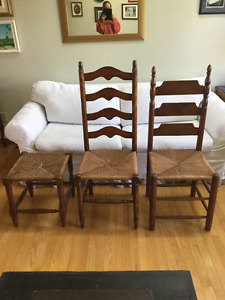Antique wood / cane chairs & stool excellent condition 3 pieces